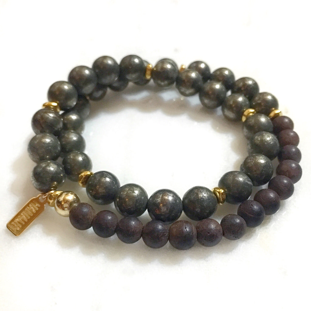 Pyrite|Ebony Wood Double Wrap Mala Bracelet