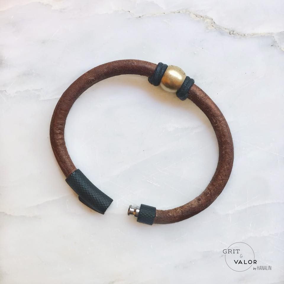 Dark Brown & Matte Black Leather Bracelet