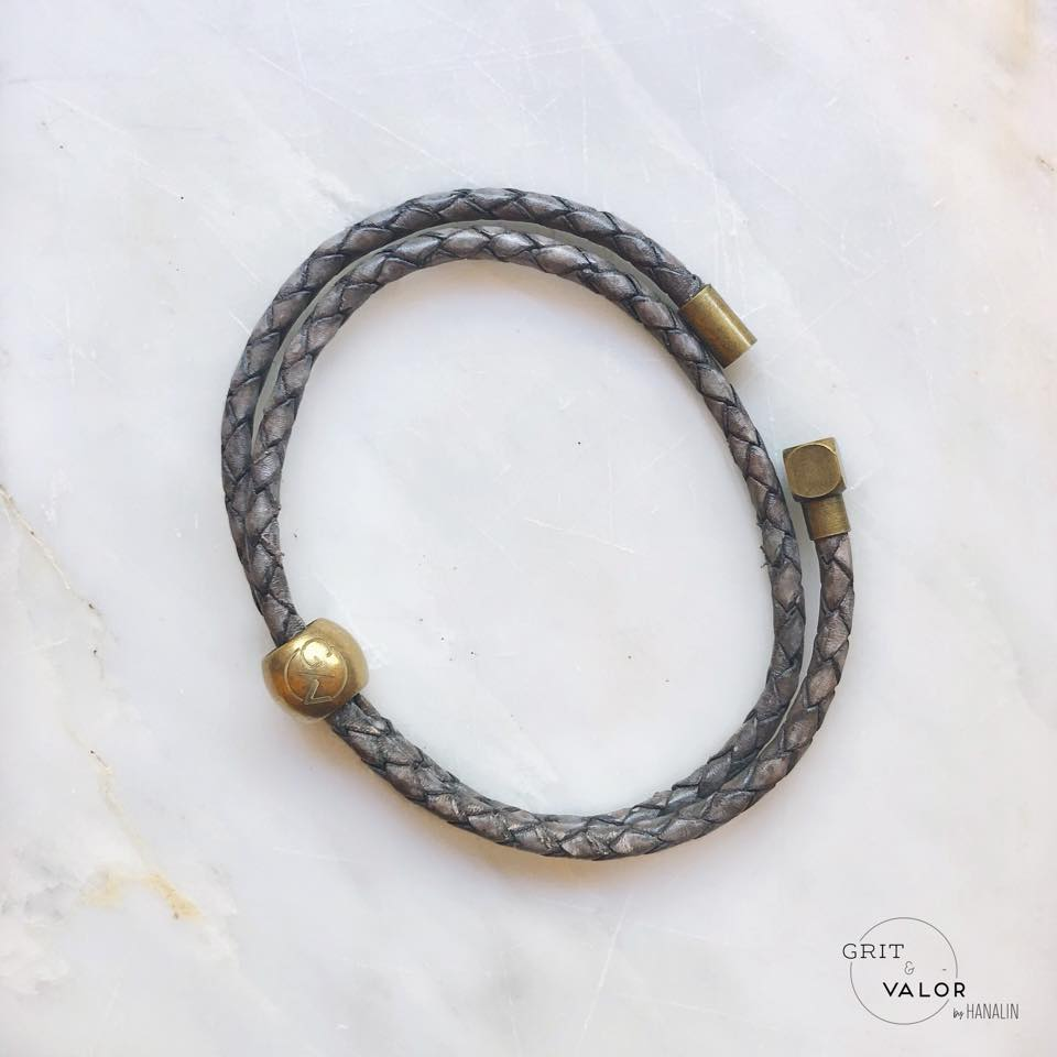 Woven Grey Leather Double Wrap Bracelet