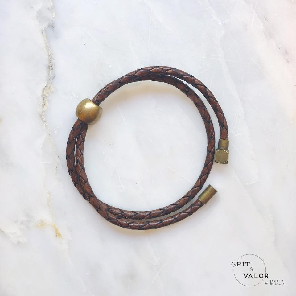 Woven Dark Brown Leather Double Wrap Bracelet