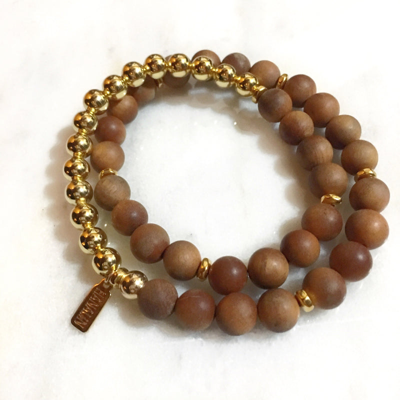 Sandalwood|14k Gold Double Wrap Mala Bracelet