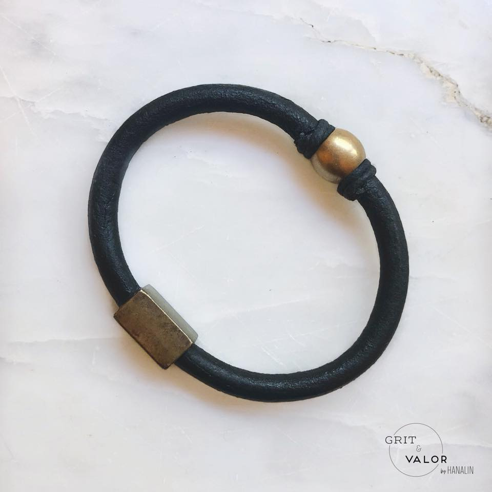 Black & Brass Leather Bracelet