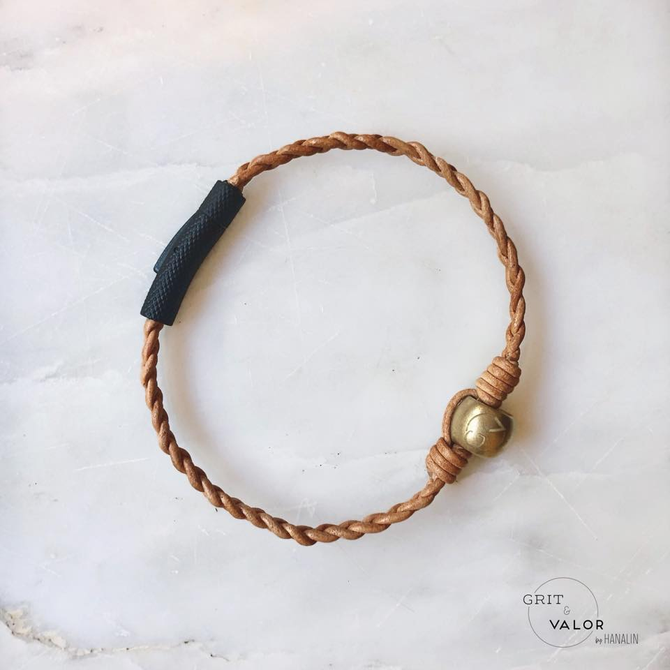 Nude Hand-Braided Leather Bracelet