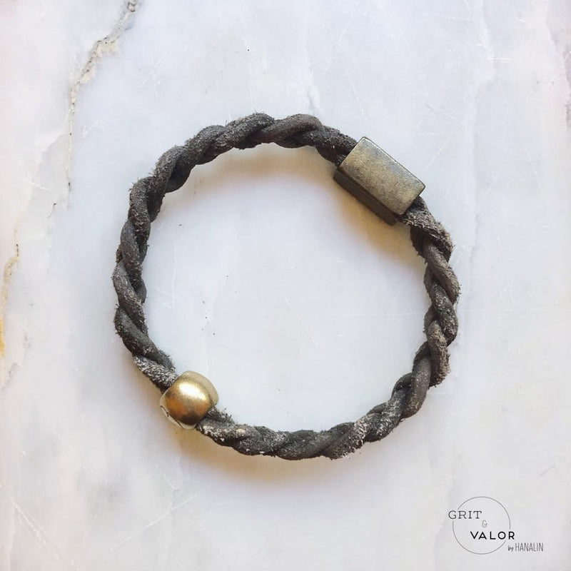 Grey  Hand-Braided Leather Bracelet