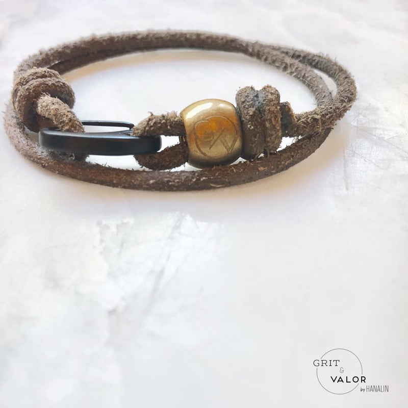 Grey Leather & Carabiner Double Wrap Bracelet