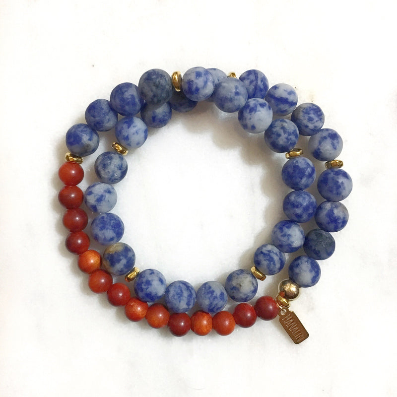 Sodalite|Redwood Double Wrap Mala Bracelet