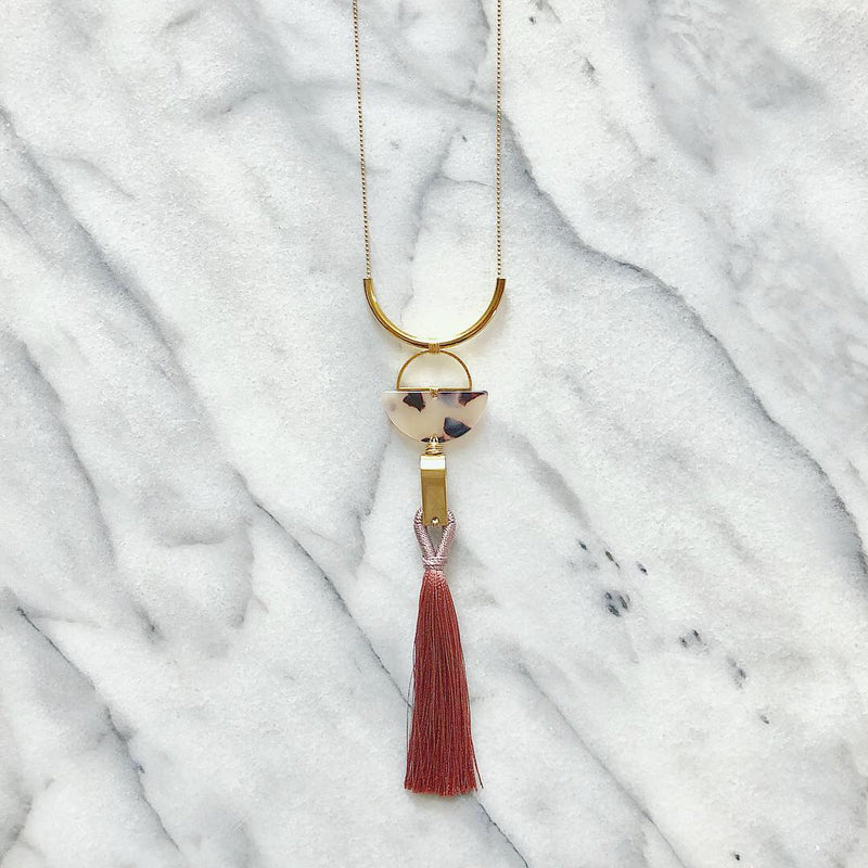 Lush & Tortoise Shell Tassel Necklace