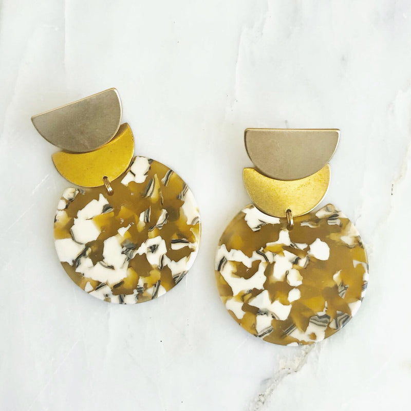 Scalloped Brass & Beige Earrings