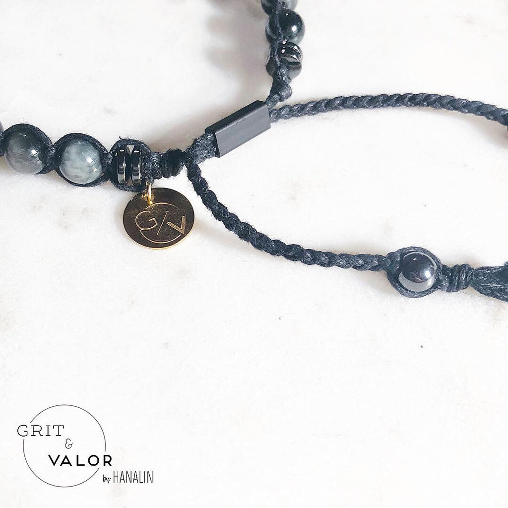 Grey Chrysoberyl + Obsidian Macrame Adjustable Bracelet