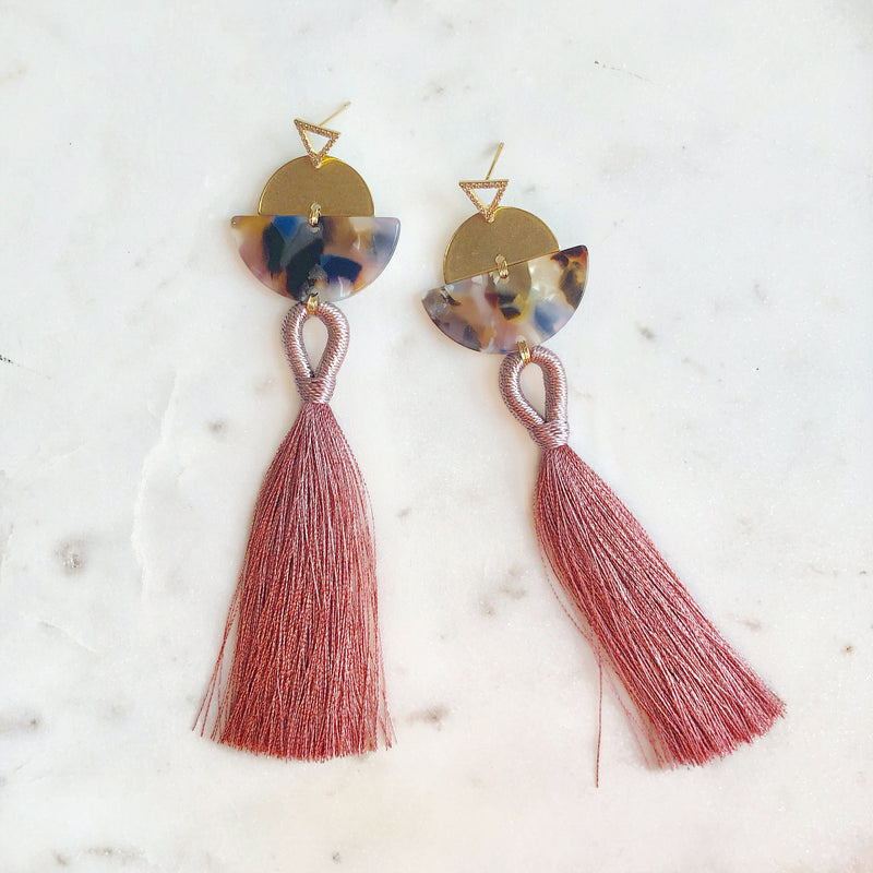 CZ Makin' Me Blush Tassel Earrings