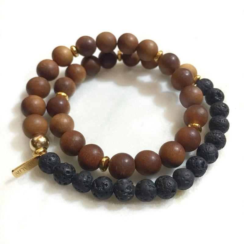 Sandalwood|Black Lava Rock Double Wrap Mala Bracelet