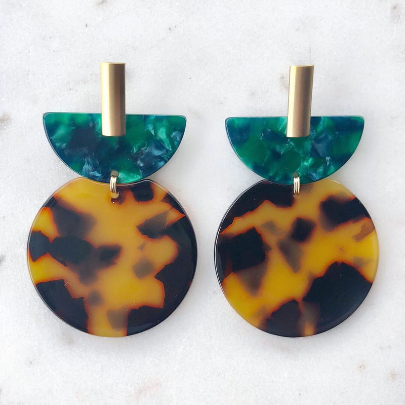 Scarab Tortoise Shell Earrings