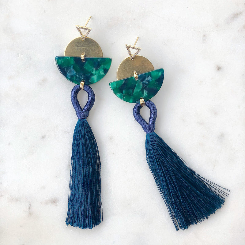Navy & Green Tassel Earrings