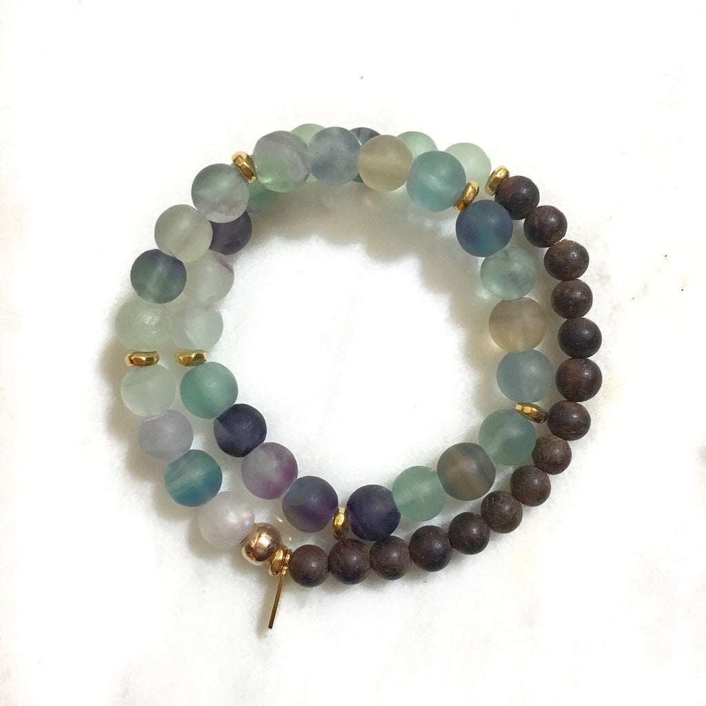 Fluorite|Ebony Wood Double Wrap Mala Bracelet