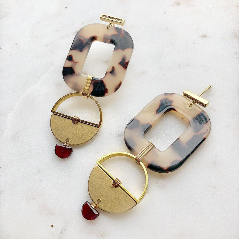 Garnet Satellite Earrings
