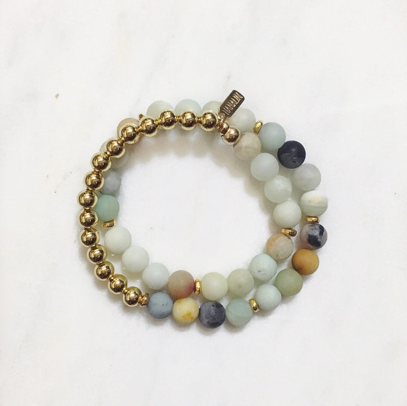 Amazonite|14k Gold Double Wrap Mala Bracelet
