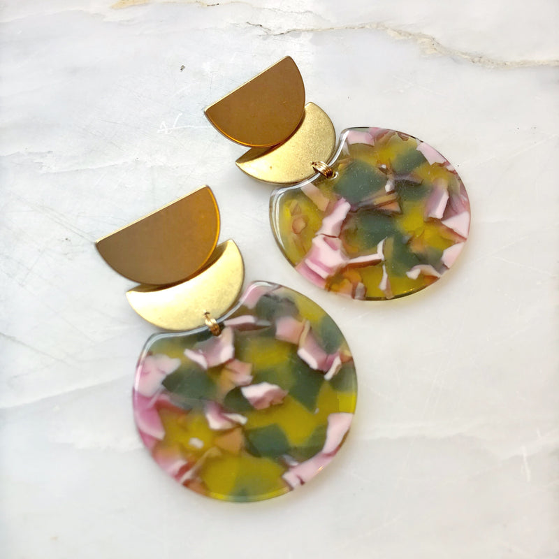 Scalloped Brass & Posies Earrings