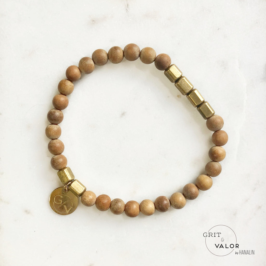 Distressed Sandalwood + Brass Barrel Bracelet