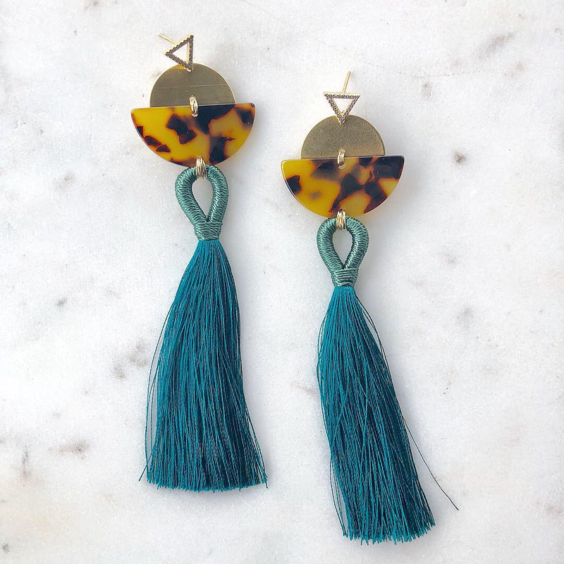 Teal & Tortoise Shell Tassel Earrings