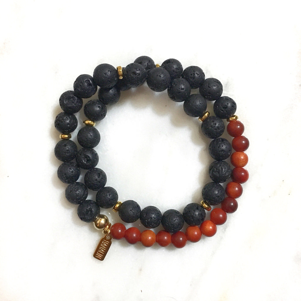 Black Lava Rock|Redwood Double Wrap Bracelet