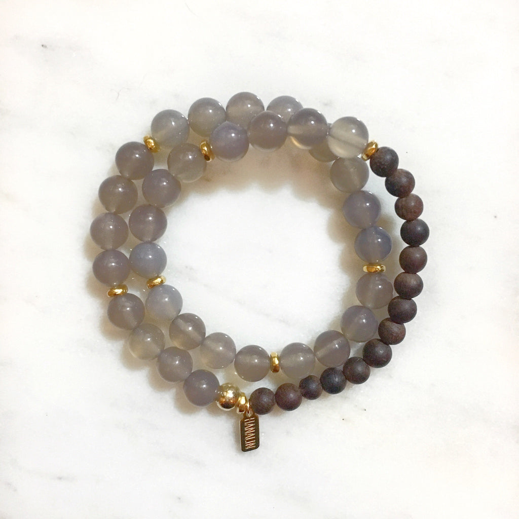 Grey Quartz|Ebony Wood Double Wrap Mala Bracelet