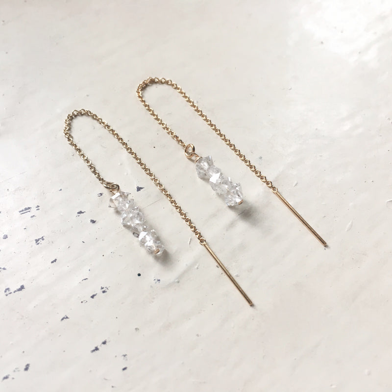 Herkimer Diamond Chip Threader Earrings