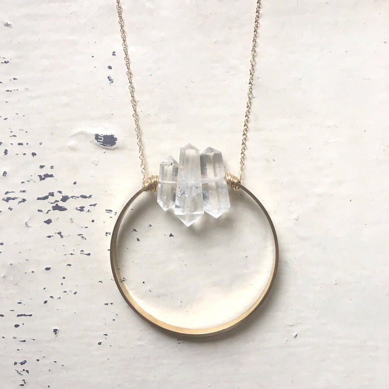 Quartz Full Circle Necklace