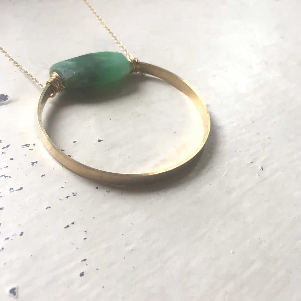 Chrysoprase Full Circle Necklace