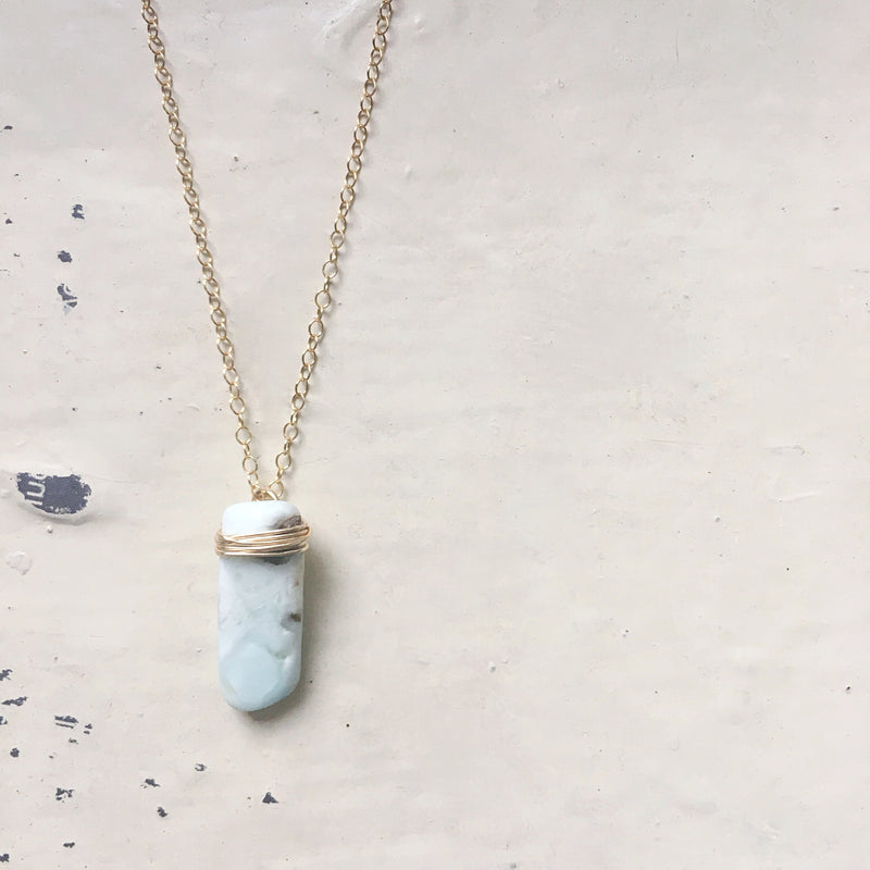 Mini Larimar Slab Necklace