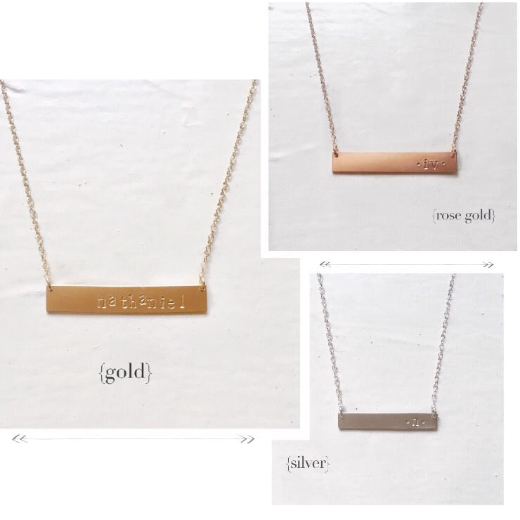 Custom Stamp Bar Necklace