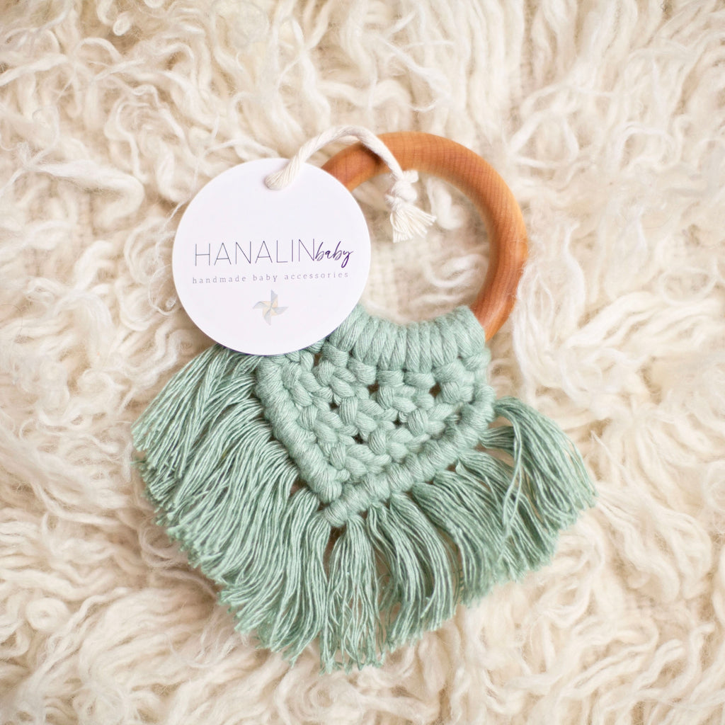 Dusty Mint Handwoven Macrame Teether