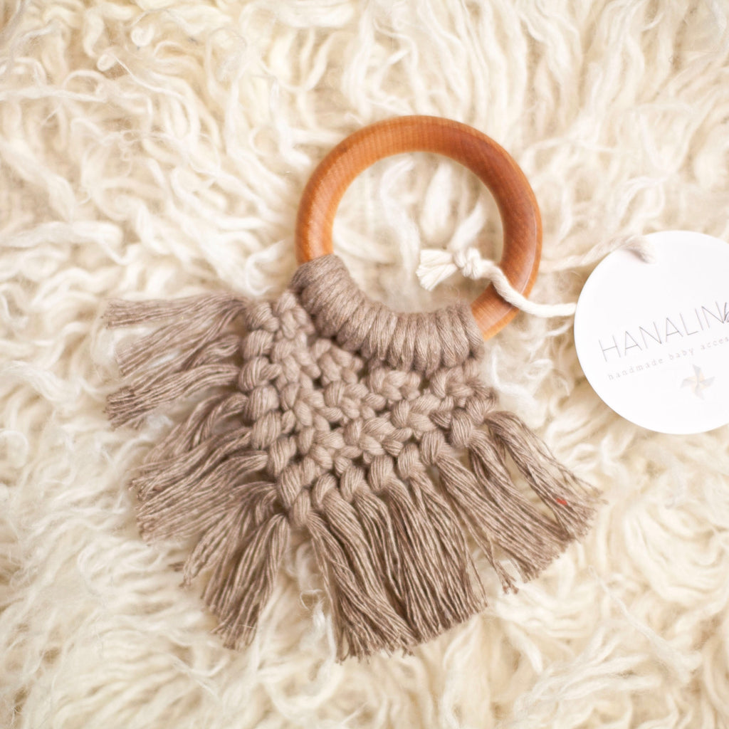 Mocha Handwoven Macrame Teether
