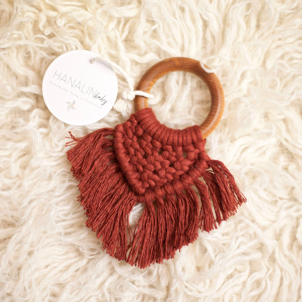 Ruby Handwoven Macrame Teether