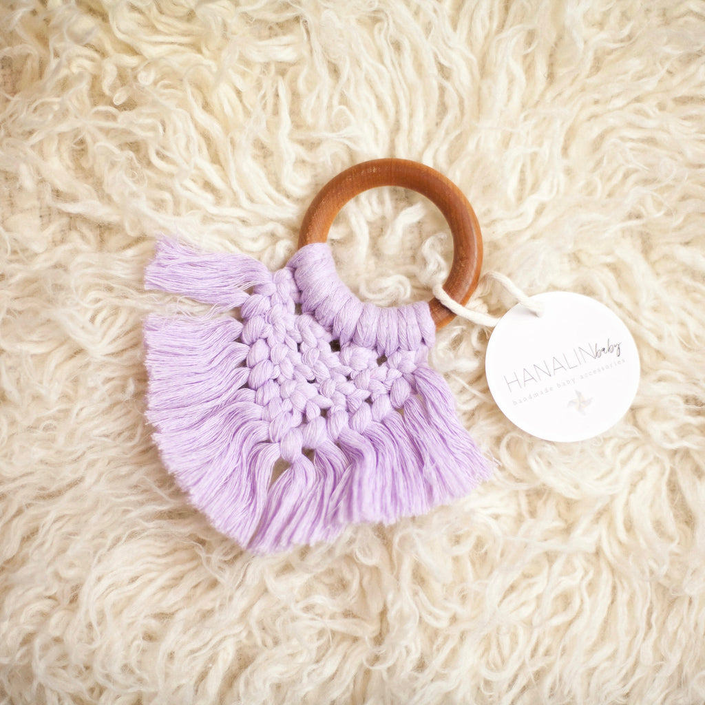 Lilac Handwoven Macrame Teether