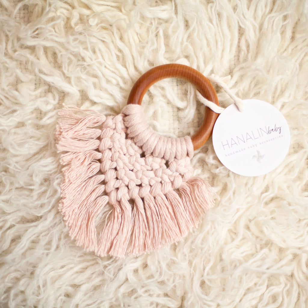 Soft Blush Handwoven Macrame Teether