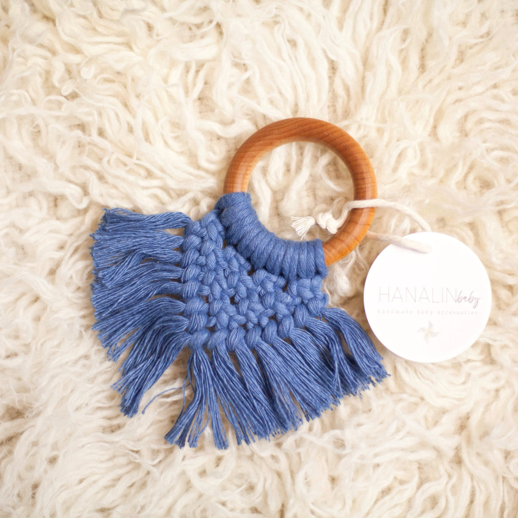 Sea Blue Handwoven Macrame Teether