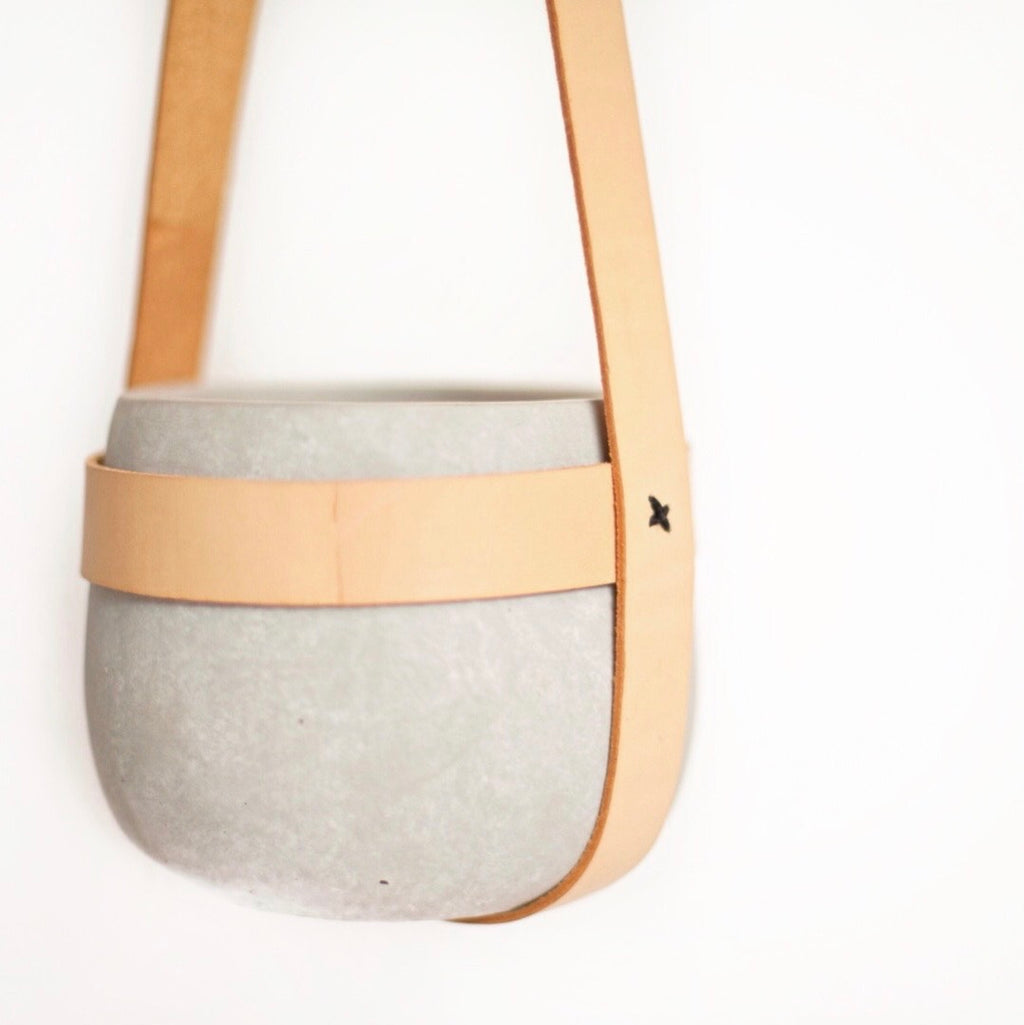 Concrete + Leather Hanging Planter