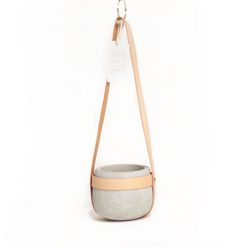 Leather + Cement Hanging Planter