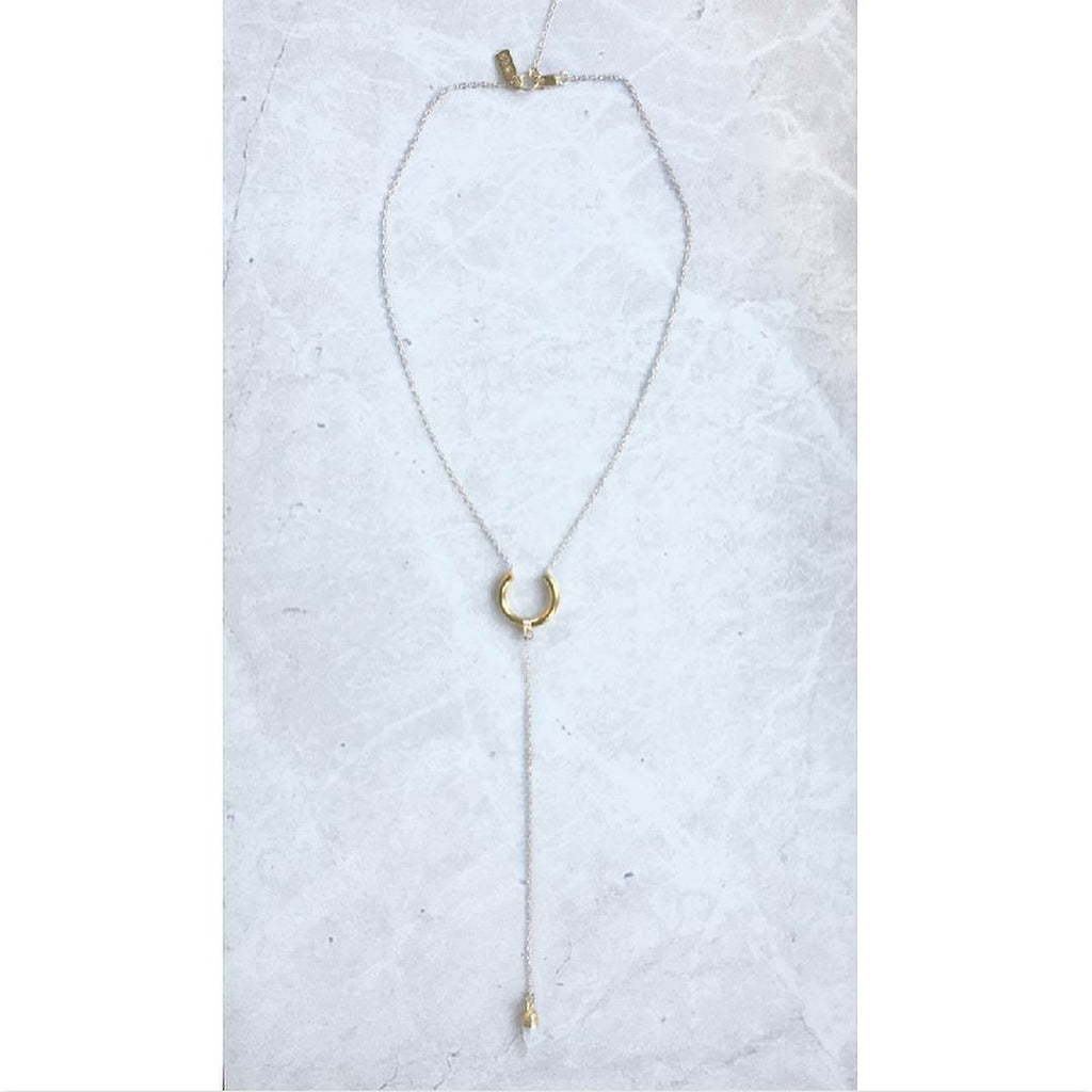 Crescent Moonstone Lariat
