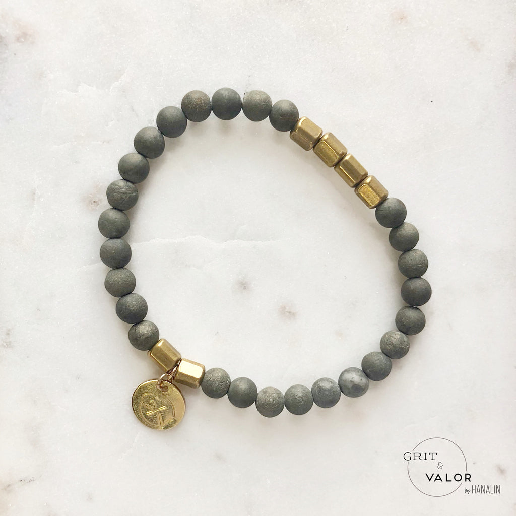 Pyrite + Brass Barrel Bracelet