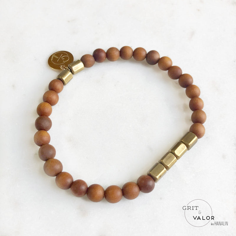 Sandalwood + Brass Barrel Bracelet