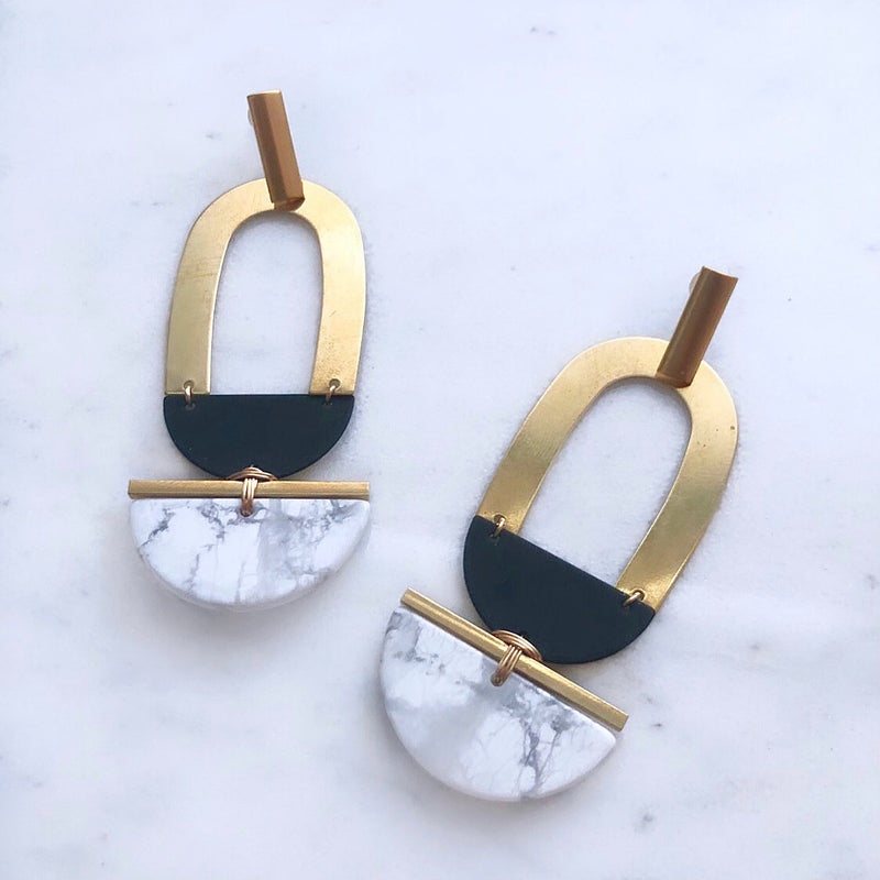 The Gold Lining In Howlite Earrings