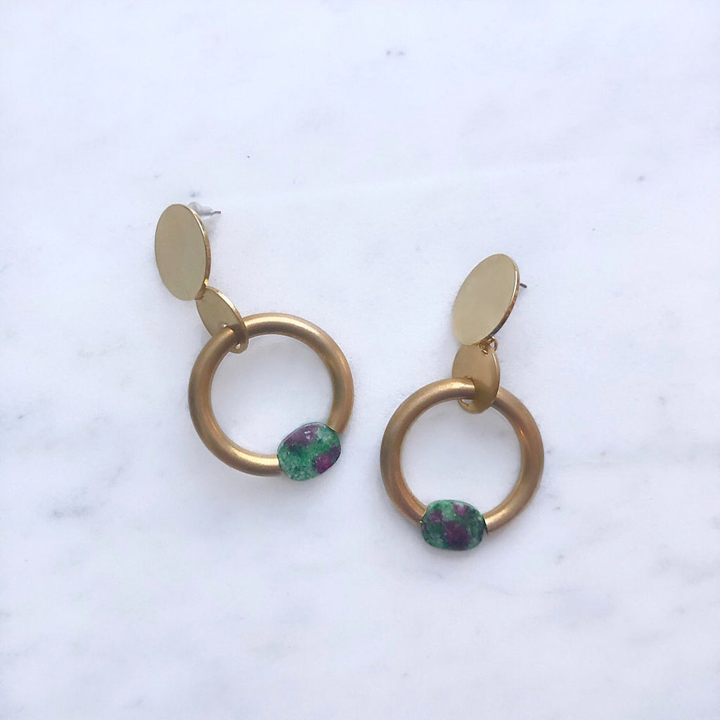 Sway This Way In Ruby Zoisite Earrings
