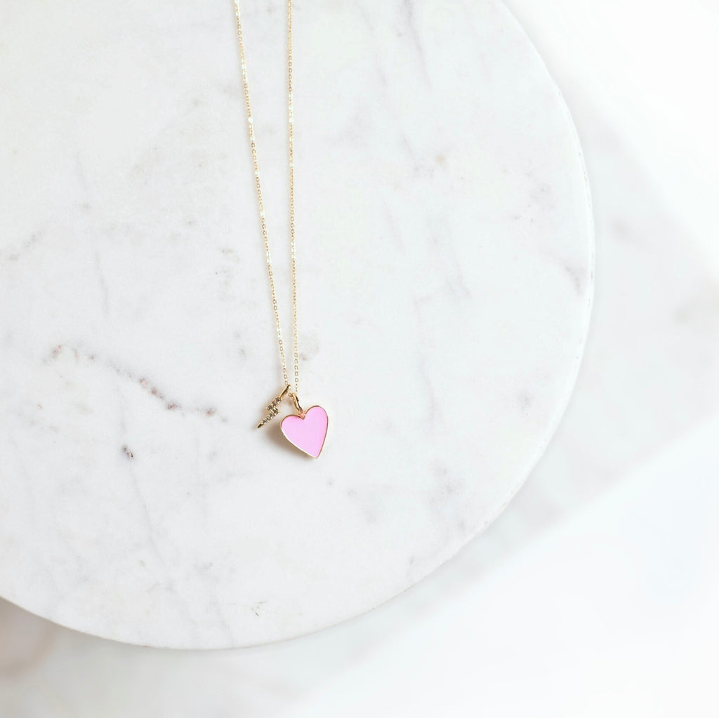 Heart Throb In Bubble Pink Necklace