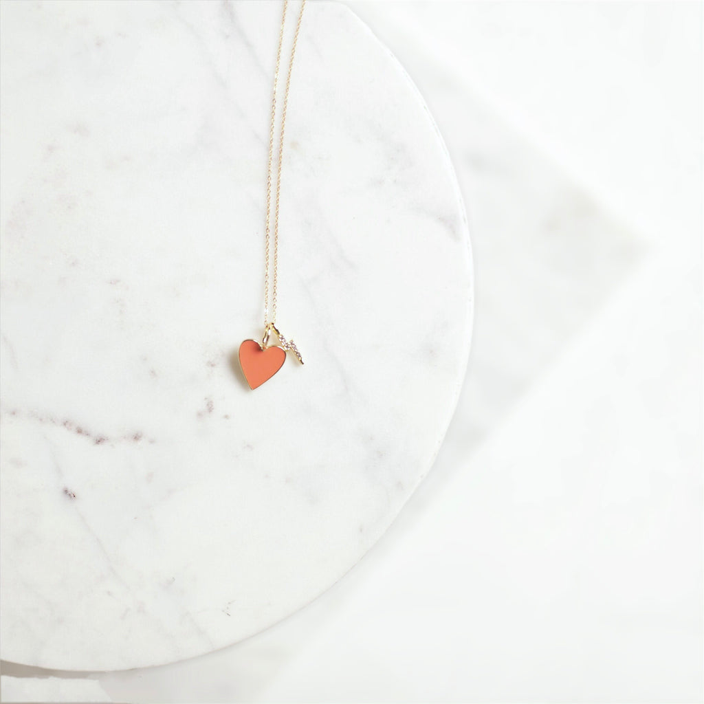 Heart Throb In Coral Necklace