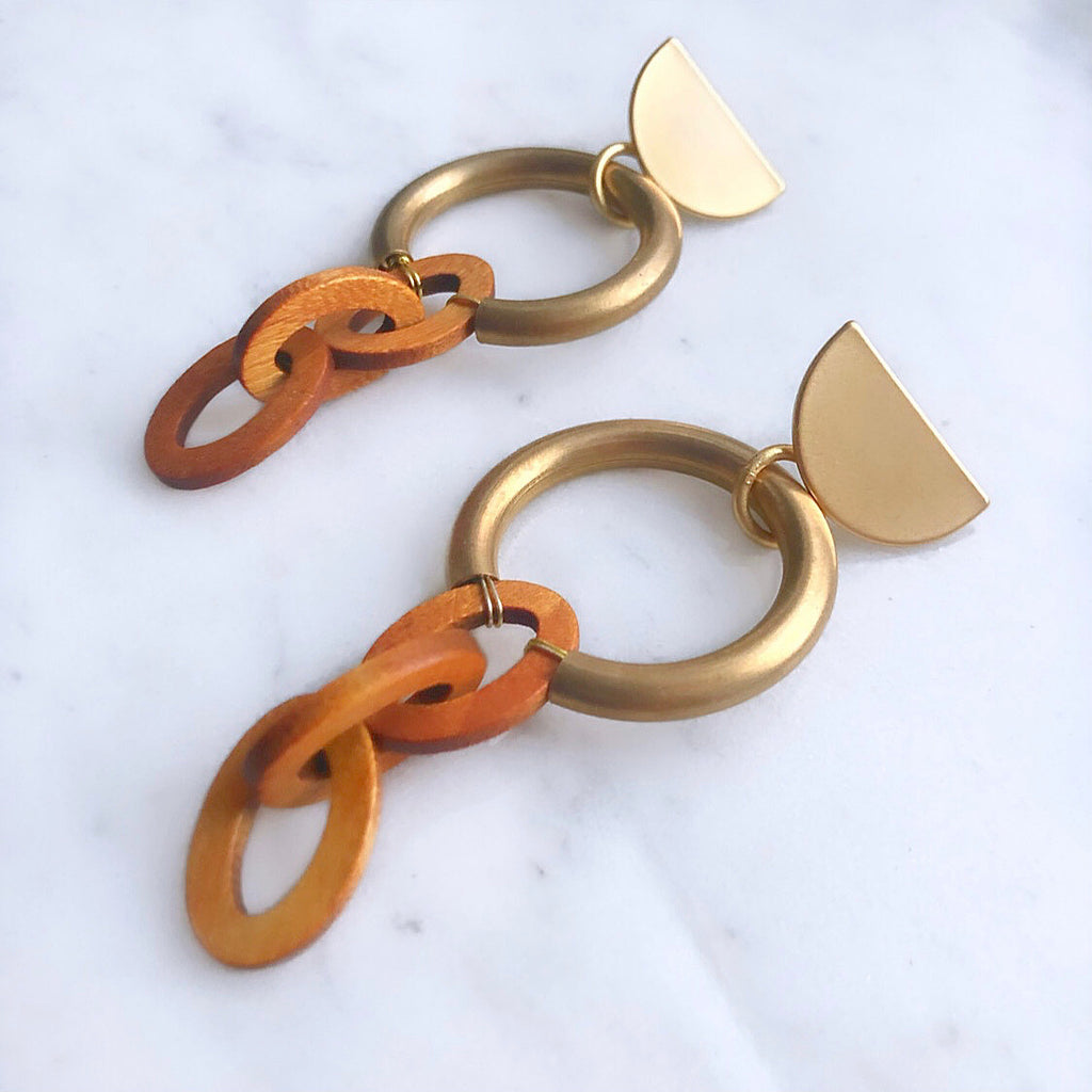 Sway This Way In Wood Link Earrings