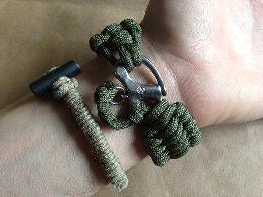 Forged Steel Snap Shackle Full Weave Bracelet