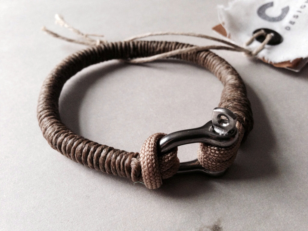 multi substance bracelet cotton circle silver brown waxed jewelry products
