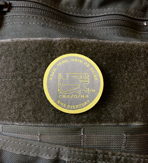 Road, Trail, Rain or Shine Morale Patch, Grey & Gold