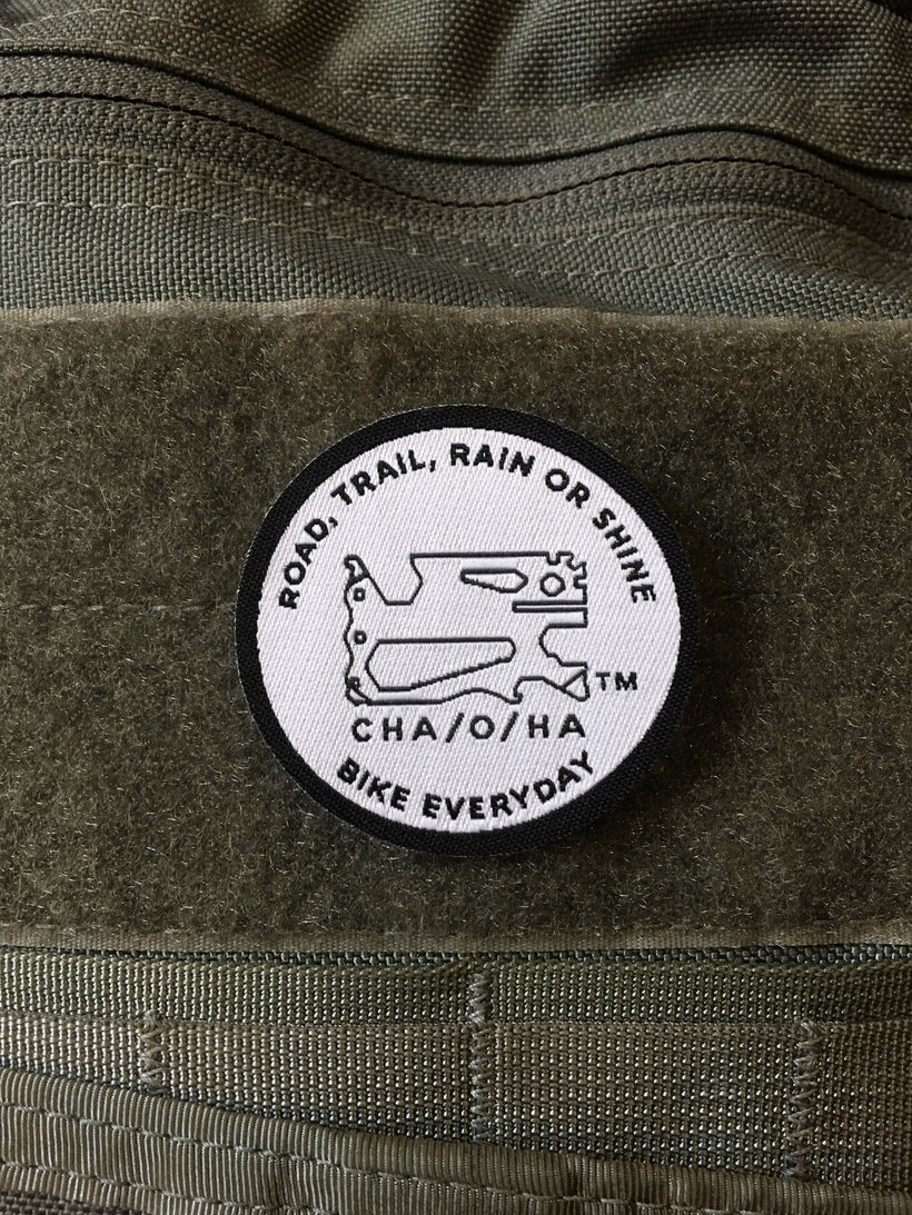Road, Trail, Rain or Shine Morale Patch, White & Black